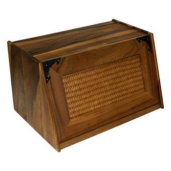 A photo of Extra Large Acacia Wood Antique Style Bread Box