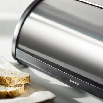 Close up view of best-selling stainless steel bread box with rolling top